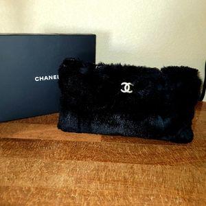Chanel rabbit fur bag silver cc